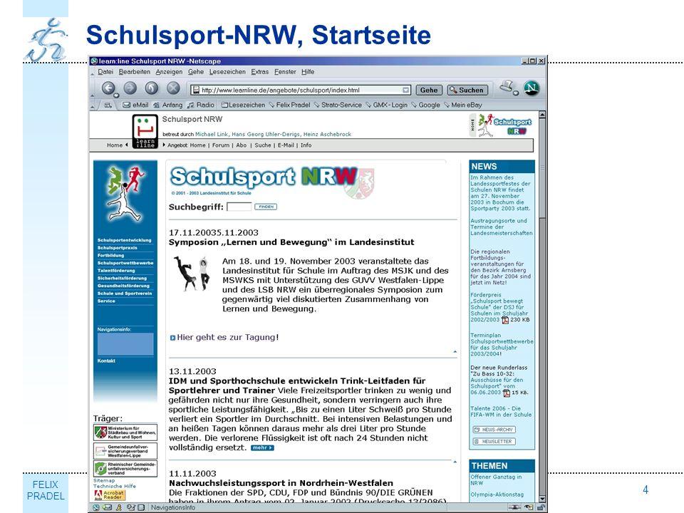 FELIX PRADEL Thema4 Schulsport-NRW, Startseite