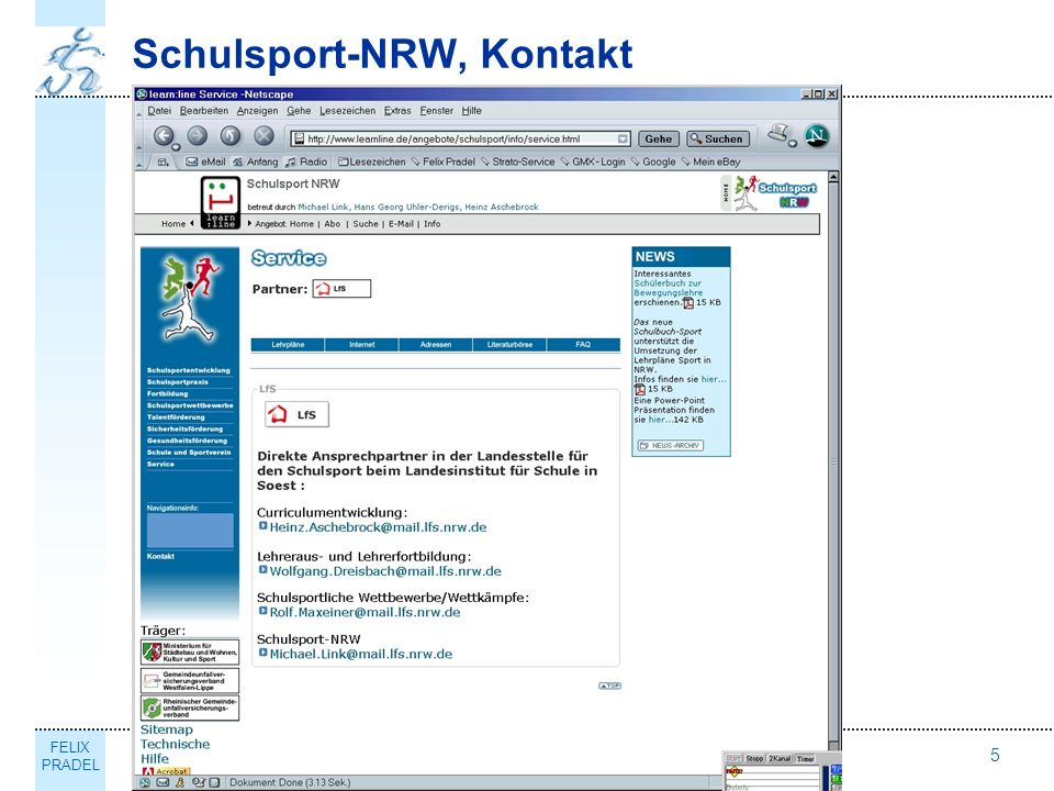 FELIX PRADEL Thema5 Schulsport-NRW, Kontakt