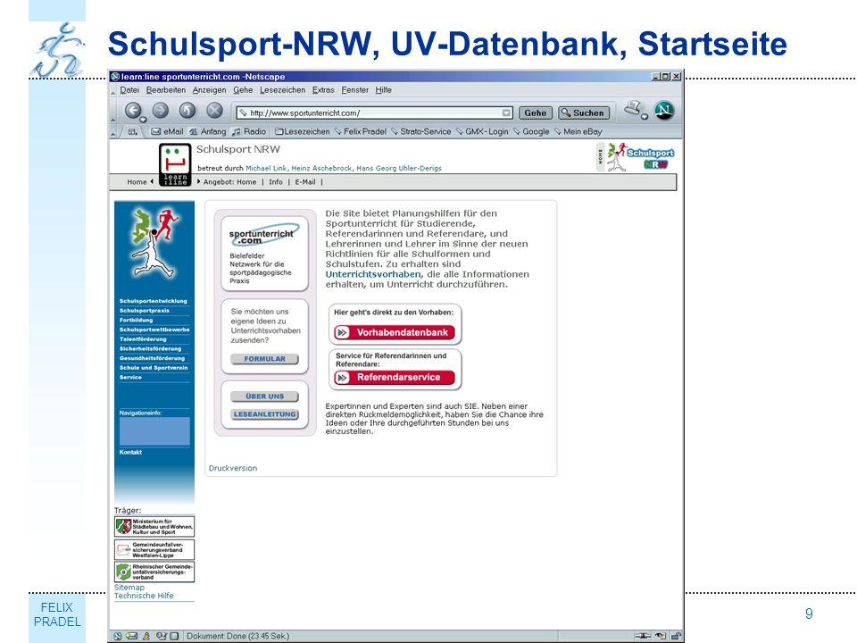 FELIX PRADEL Thema9 Schulsport-NRW, UV-Datenbank, Startseite