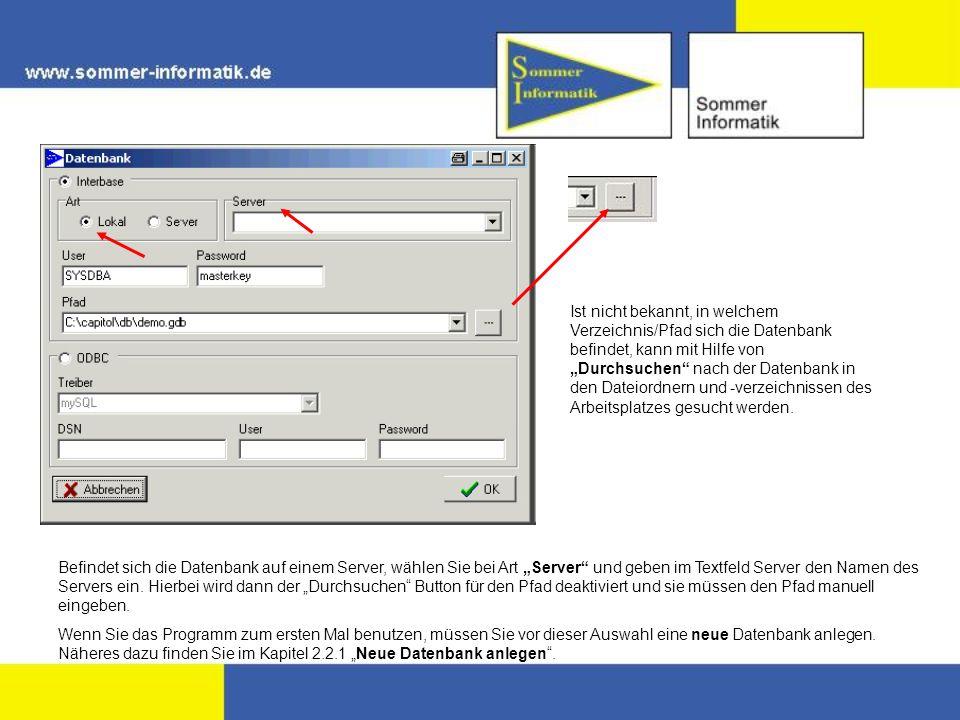 Befindet sich die Datenbank auf einem Server, wählen Sie bei Art Server und geben im Textfeld Server den Namen des Servers ein.