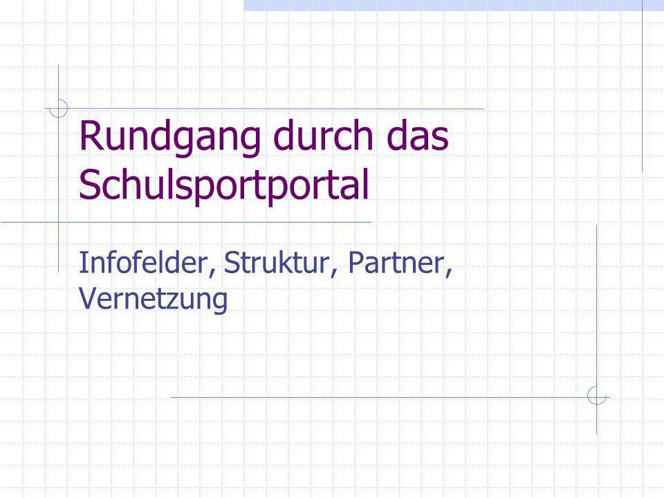 Rundgang durch das Schulsportportal Infofelder, Struktur, Partner, Vernetzung