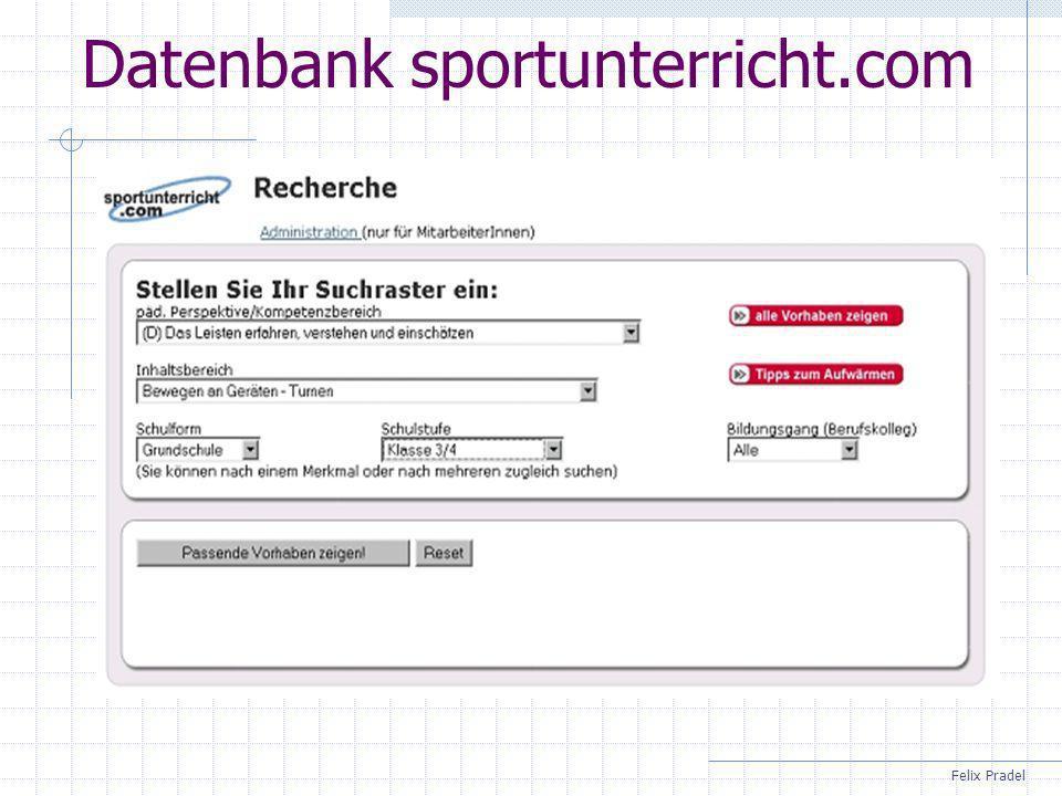 Felix Pradel Datenbank sportunterricht.com