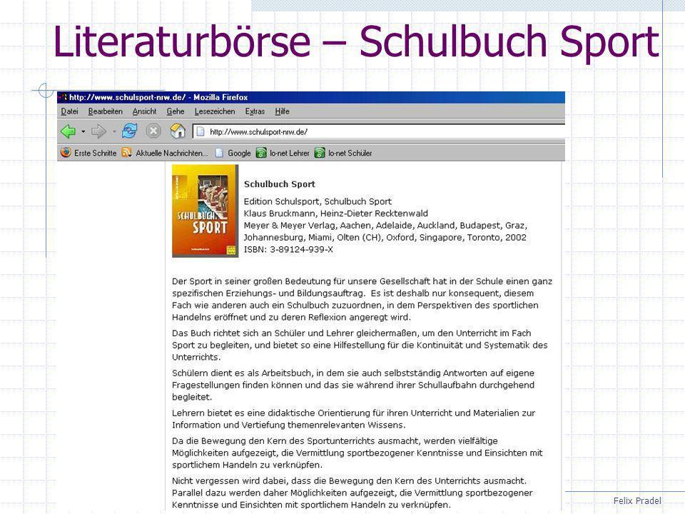 Felix Pradel Literaturbörse – Schulbuch Sport