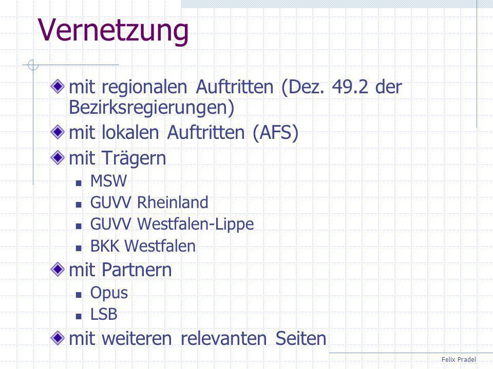 Felix Pradel Vernetzung mit regionalen Auftritten (Dez. 49.2 der Bezirksregierungen) mit lokalen Auftritten (AFS) mit Trägern MSW GUVV Rheinland GUVV