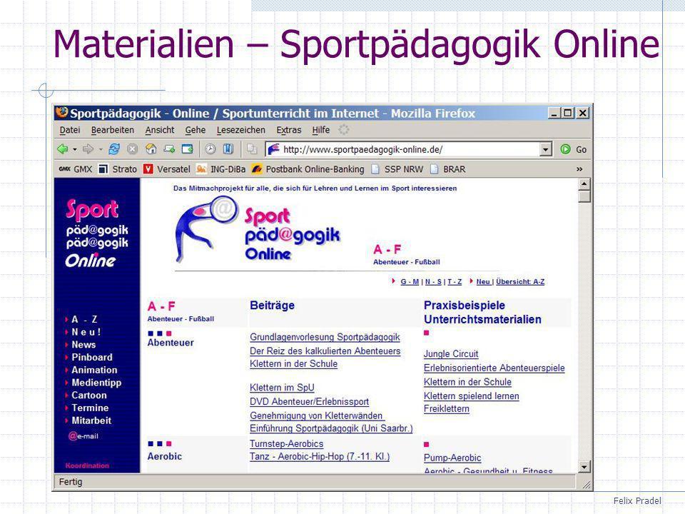 Felix Pradel Materialien – Sportpädagogik Online