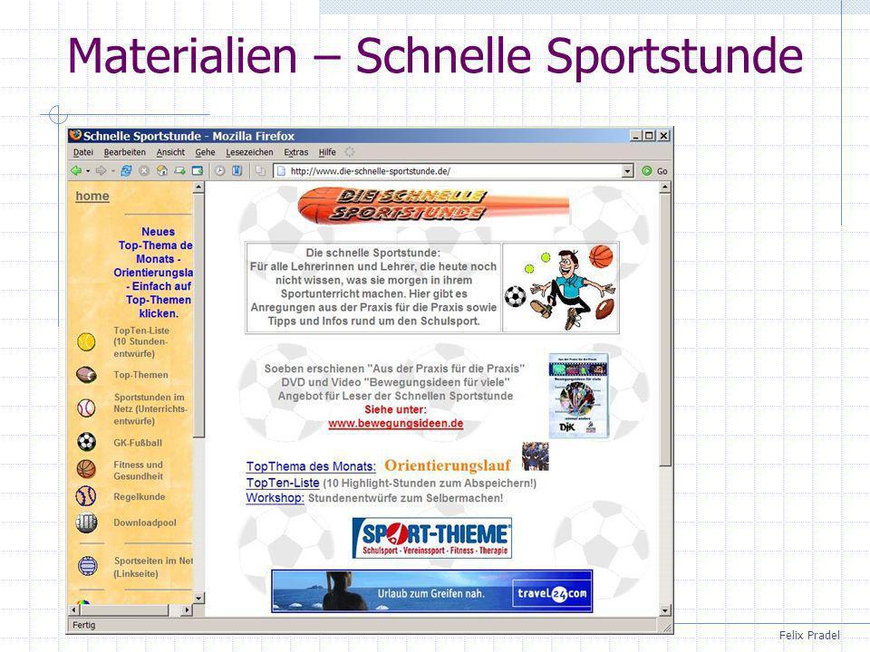 Felix Pradel Materialien – Schnelle Sportstunde