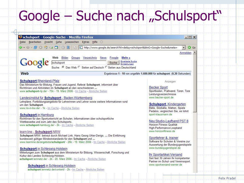Felix Pradel Google – Suche nach Schulsport