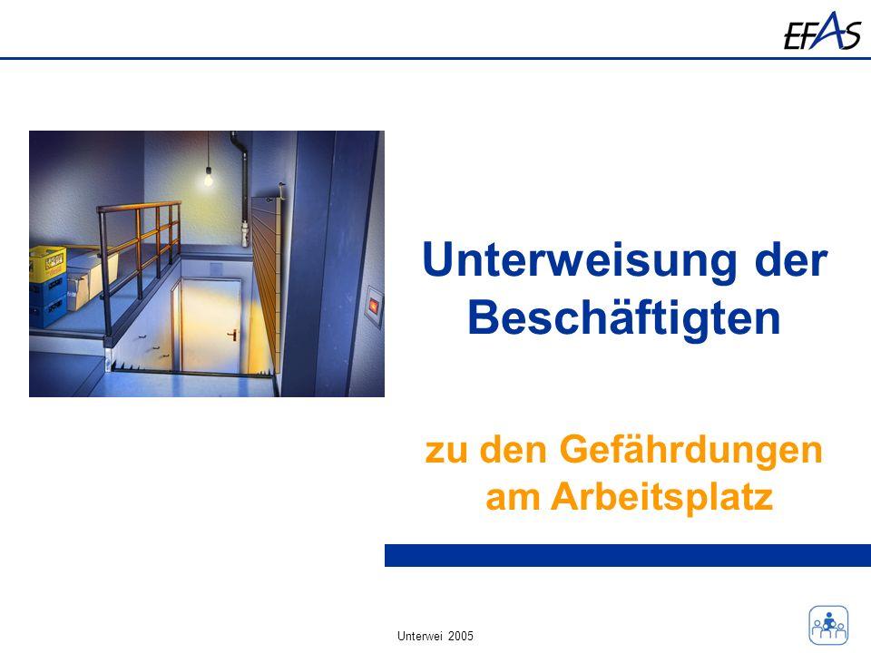 Unterwei 2005 Unterweisung der Beschäftigten zu den Gefährdungen am Arbeitsplatz