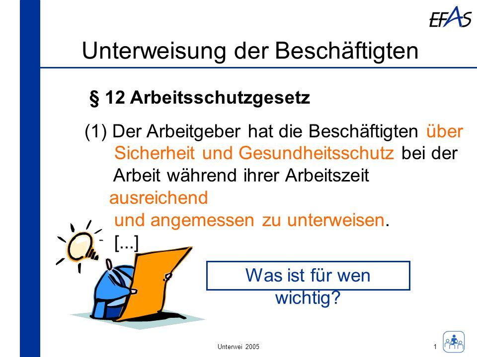 Unterwei 2005 Unterweisung der Beschäftigten § 12 Arbeitsschutzgesetz, Satz 2 (1)[...] Die Unterweisung umfasst Anweisungen und Erläuterungen, die eigens auf den Arbeitsplatz oder auf den Aufgabenbereich der Beschäftigten ausgerichtet sind.