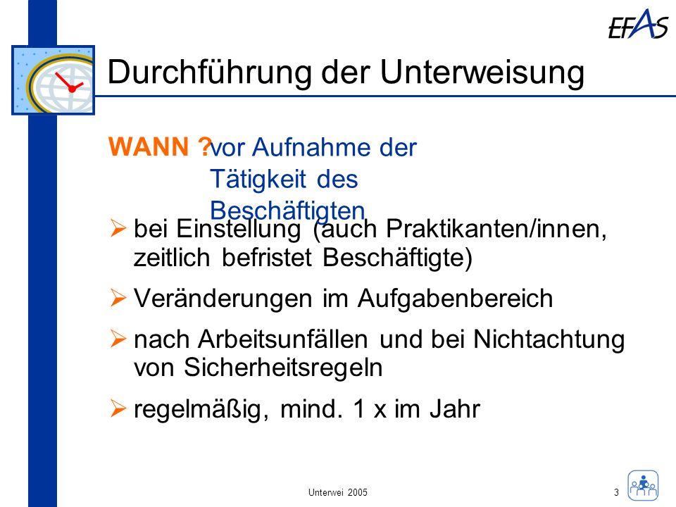 Unterwei 2005 Durchführung der Unterweisung WANN ? bei Einstellung (auch Praktikanten/innen, zeitlich befristet Beschäftigte) Veränderungen im Aufgabe
