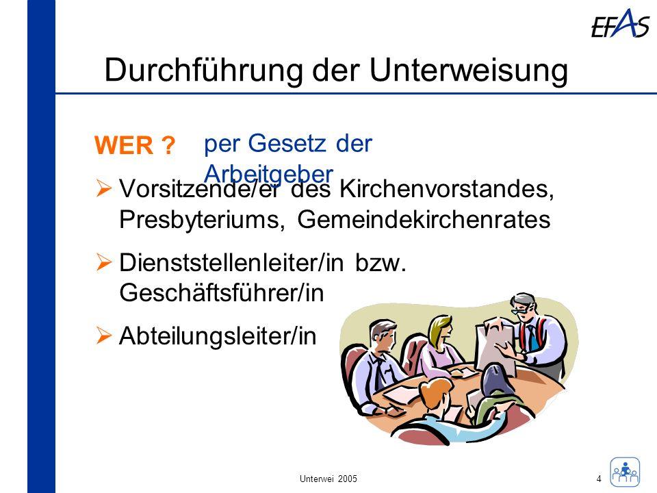Unterwei 2005 Durchführung der Unterweisung WIE .