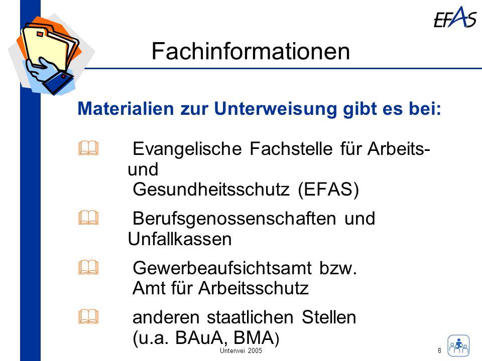 Unterwei 2005 Fachinformationen Materialien zur Unterweisung gibt es bei: Evangelische Fachstelle für Arbeits- und Gesundheitsschutz (EFAS) Berufsgeno