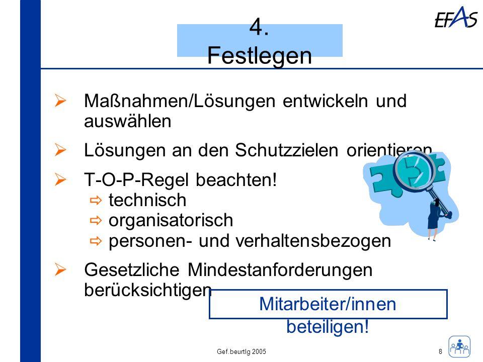Gef.beurtlg 2005 4. Festlegen Maßnahmen/Lösungen entwickeln und auswählen Lösungen an den Schutzzielen orientieren T-O-P-Regel beachten! technisch org