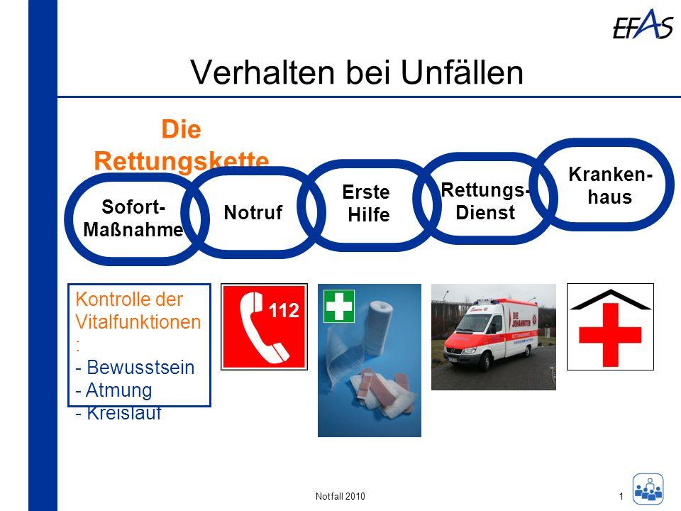 Notfall 2010 Verhalten bei Unfällen Sofort- Maßnahme Notruf Erste Hilfe Rettungs- Dienst Kranken- haus Die Rettungskette Kontrolle der Vitalfunktionen