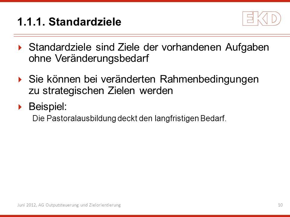 Juni 2012, AG Outputsteuerung und Zielorientierung10 1.1.1. Standardziele Standardziele sind Ziele der vorhandenen Aufgaben ohne Veränderungsbedarf Si