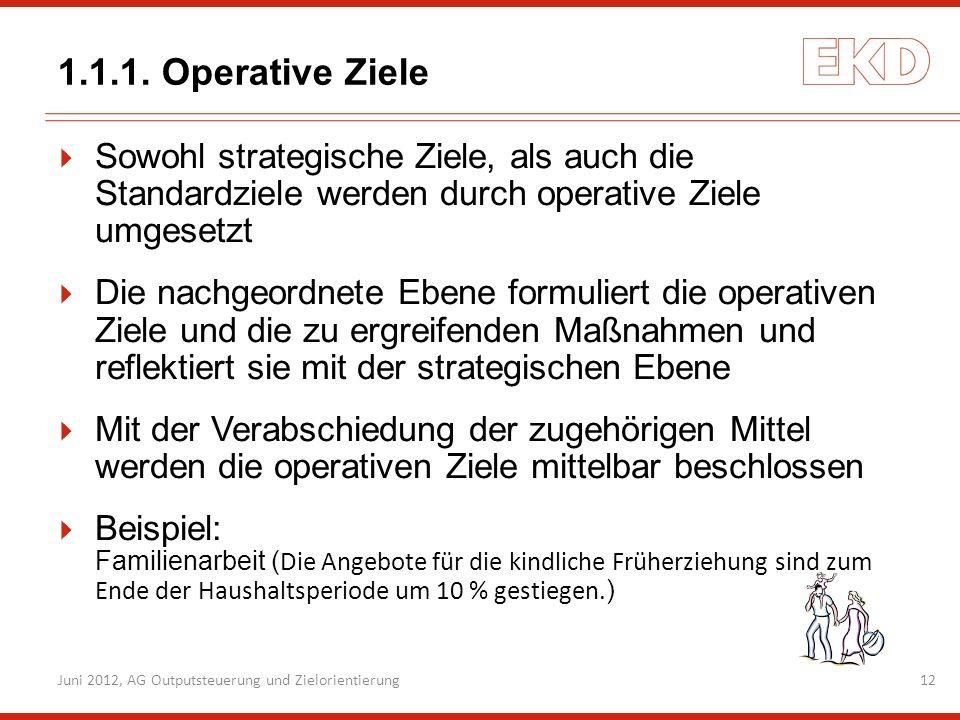 Juni 2012, AG Outputsteuerung und Zielorientierung12 1.1.1. Operative Ziele Sowohl strategische Ziele, als auch die Standardziele werden durch operati