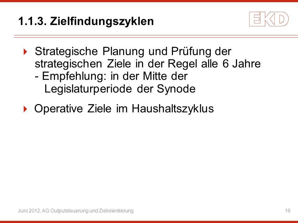 Juni 2012, AG Outputsteuerung und Zielorientierung16 Strategische Planung und Prüfung der strategischen Ziele in der Regel alle 6 Jahre - Empfehlung:i