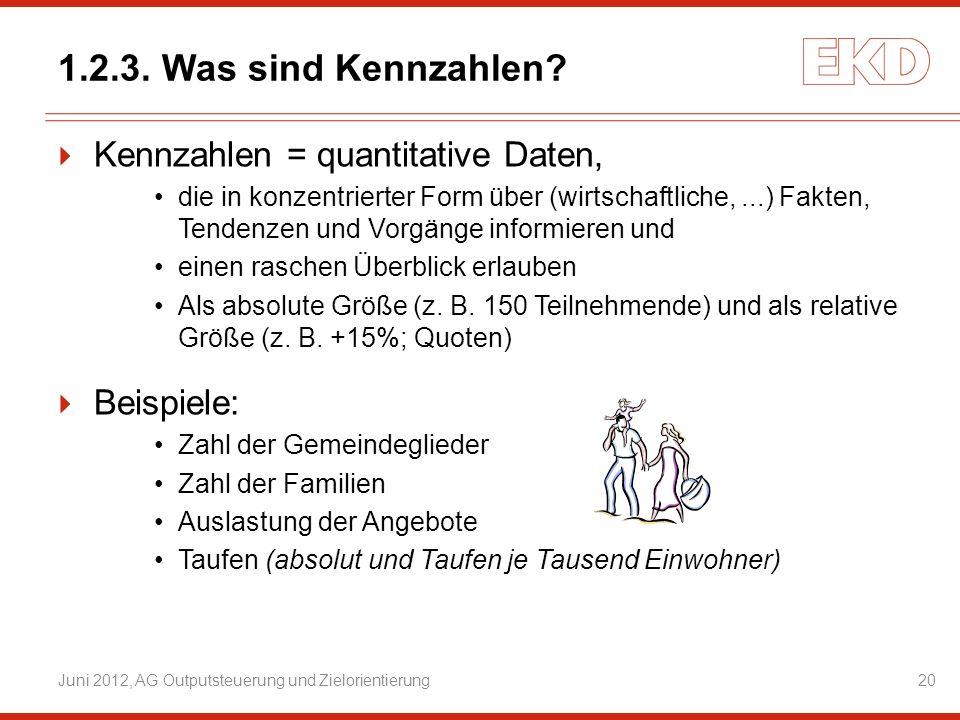 1.2.3. Was sind Kennzahlen? Kennzahlen = quantitative Daten, die in konzentrierter Form über (wirtschaftliche,...) Fakten, Tendenzen und Vorgänge info