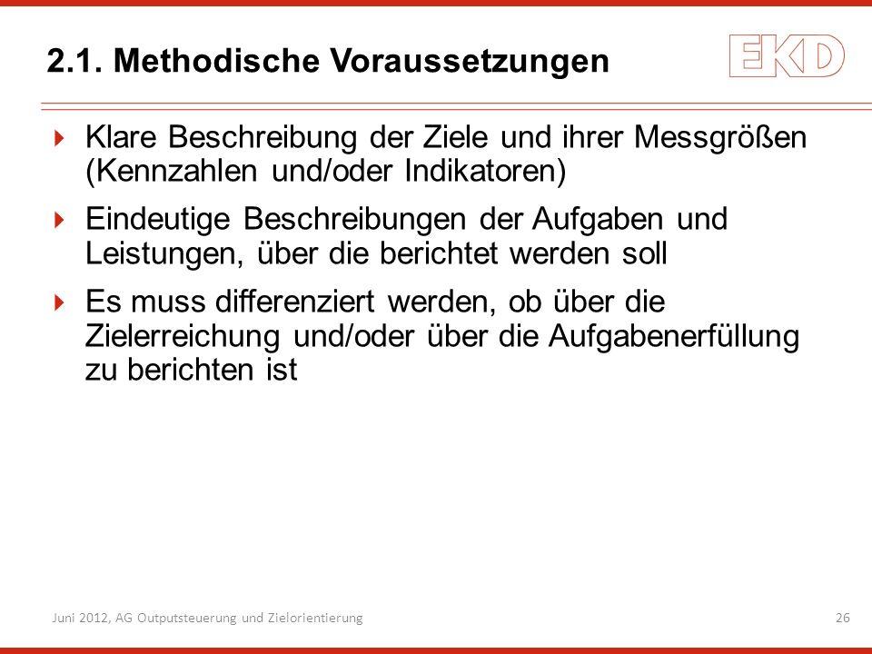 2.1. Methodische Voraussetzungen Klare Beschreibung der Ziele und ihrer Messgrößen (Kennzahlen und/oder Indikatoren) Eindeutige Beschreibungen der Auf