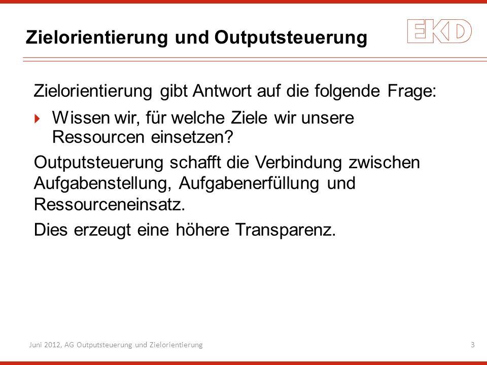 Juni 2012, AG Outputsteuerung und Zielorientierung3 Zielorientierung und Outputsteuerung Zielorientierung gibt Antwort auf die folgende Frage: Wissen