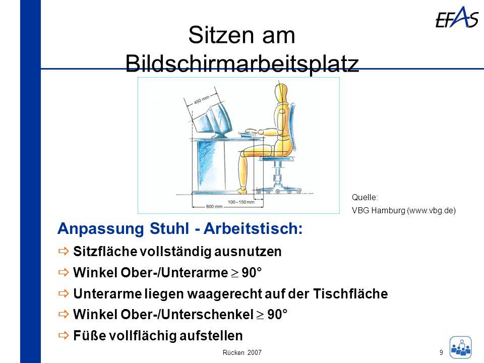 Rücken 2007 Sitzen am Bildschirmarbeitsplatz 9 Anpassung Stuhl - Arbeitstisch: Sitzfläche vollständig ausnutzen Winkel Ober-/Unterarme 90° Unterarme l