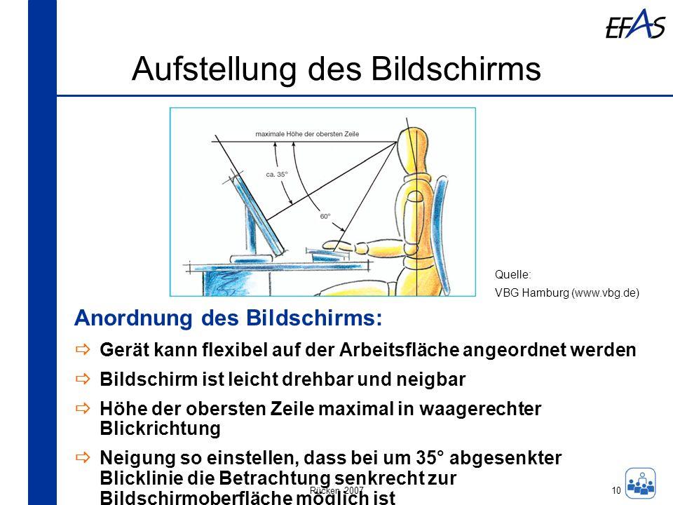 Rücken 2007 Aufstellung des Bildschirms 10 Anordnung des Bildschirms: Gerät kann flexibel auf der Arbeitsfläche angeordnet werden Bildschirm ist leich