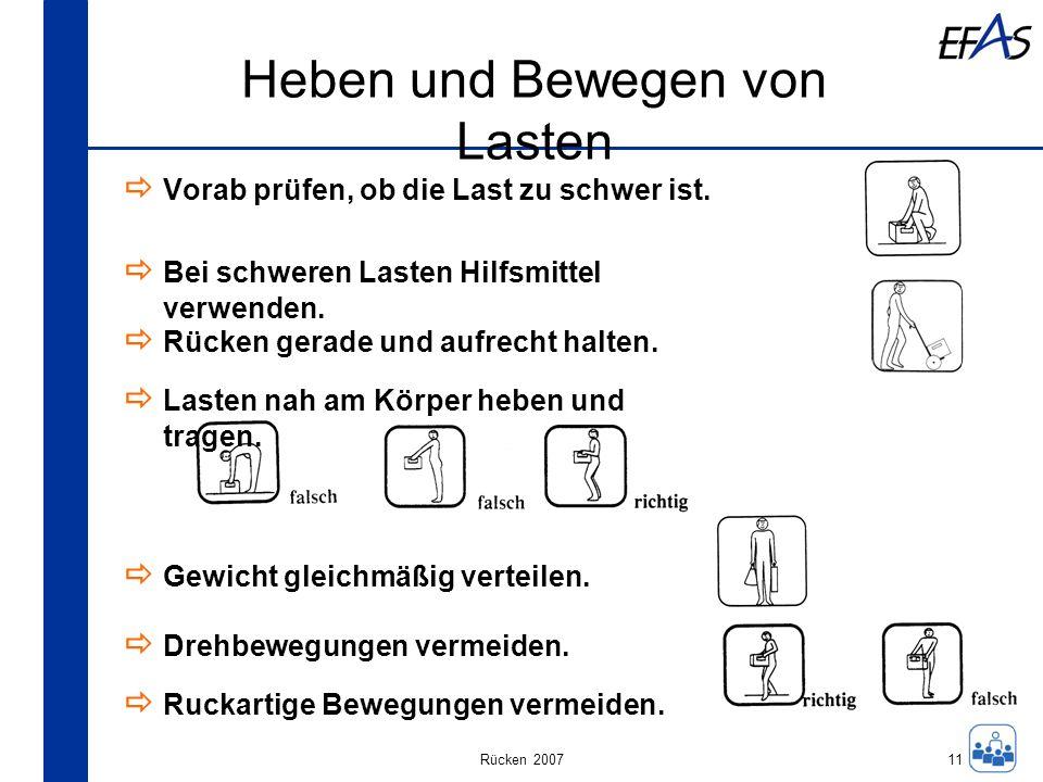 Rücken 2007 Heben und Bewegen von Lasten 11 Vorab prüfen, ob die Last zu schwer ist. Bei schweren Lasten Hilfsmittel verwenden. Rücken gerade und aufr