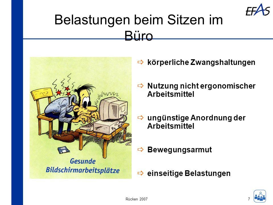 Rücken 2007 Belastungen beim Sitzen im Büro körperliche Zwangshaltungen Nutzung nicht ergonomischer Arbeitsmittel ungünstige Anordnung der Arbeitsmitt