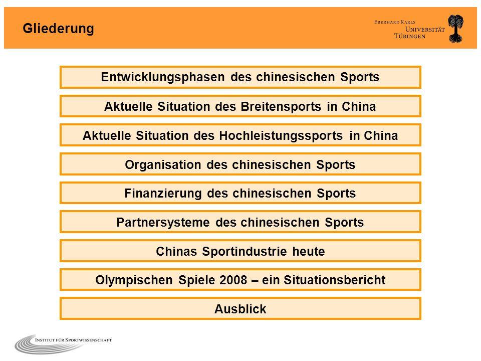 Gliederung Entwicklungsphasen des chinesischen Sports Aktuelle Situation des Breitensports in China Aktuelle Situation des Hochleistungssports in Chin