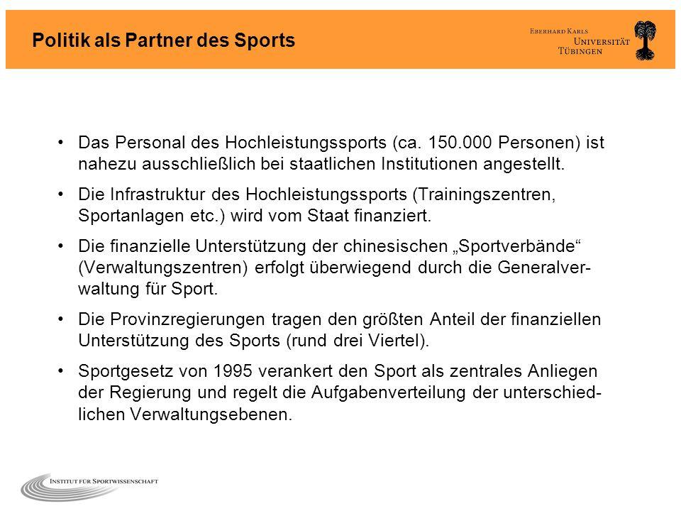 Politik als Partner des Sports Das Personal des Hochleistungssports (ca. 150.000 Personen) ist nahezu ausschließlich bei staatlichen Institutionen ang
