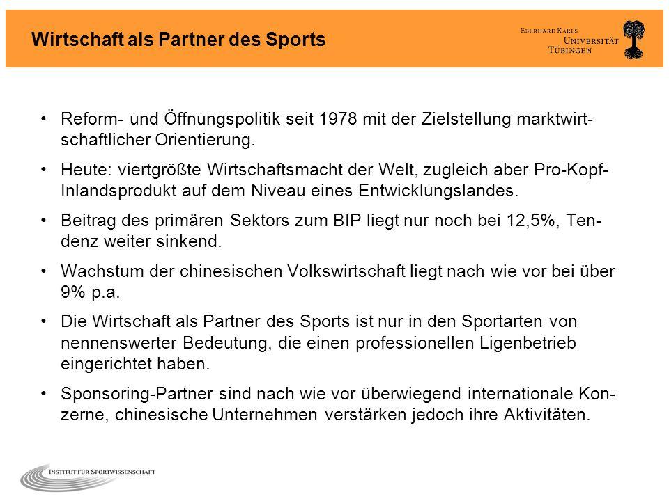 Wirtschaft als Partner des Sports Reform- und Öffnungspolitik seit 1978 mit der Zielstellung marktwirt- schaftlicher Orientierung. Heute: viertgrößte