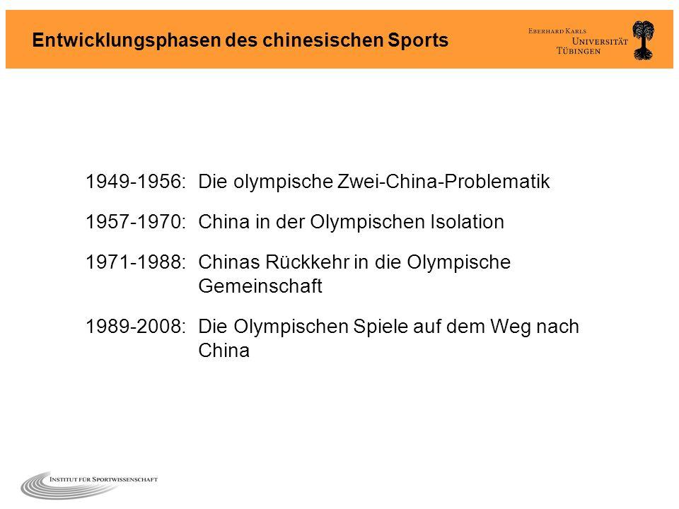 Entwicklungsphasen des chinesischen Sports 1949-1956:Die olympische Zwei-China-Problematik 1957-1970:China in der Olympischen Isolation 1971-1988:Chin