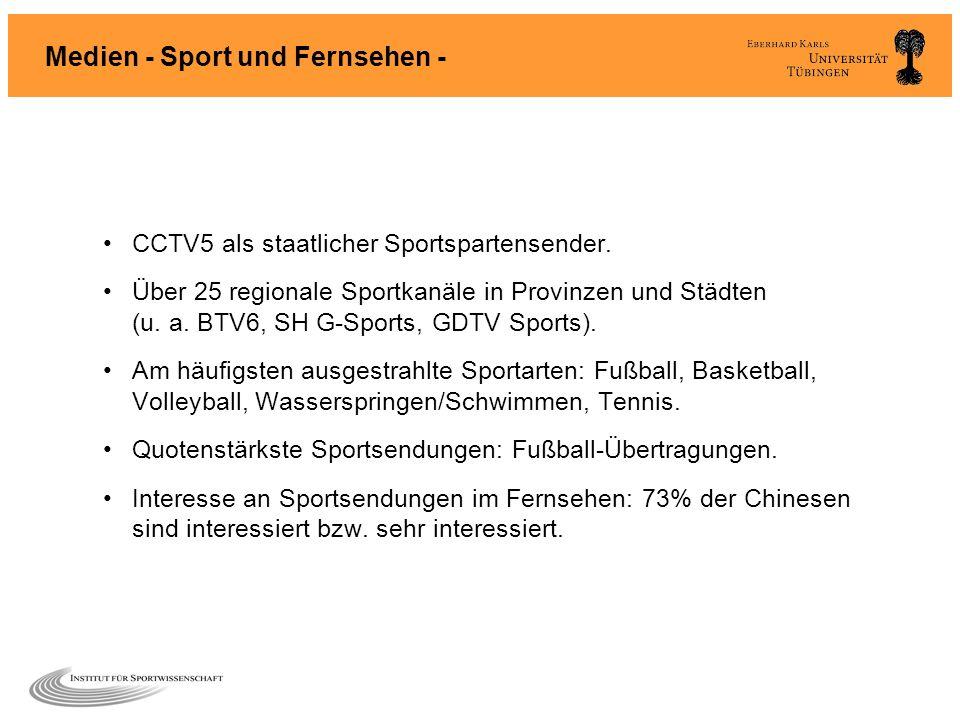Medien - Sport und Fernsehen - CCTV5 als staatlicher Sportspartensender. Über 25 regionale Sportkanäle in Provinzen und Städten (u. a. BTV6, SH G-Spor
