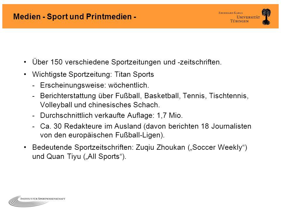 Medien - Sport und Printmedien - Über 150 verschiedene Sportzeitungen und -zeitschriften. Wichtigste Sportzeitung: Titan Sports -Erscheinungsweise: wö