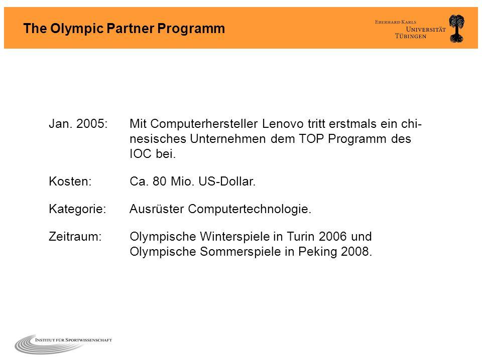 Jan. 2005:Mit Computerhersteller Lenovo tritt erstmals ein chi- nesisches Unternehmen dem TOP Programm des IOC bei. Kosten:Ca. 80 Mio. US-Dollar. Kate
