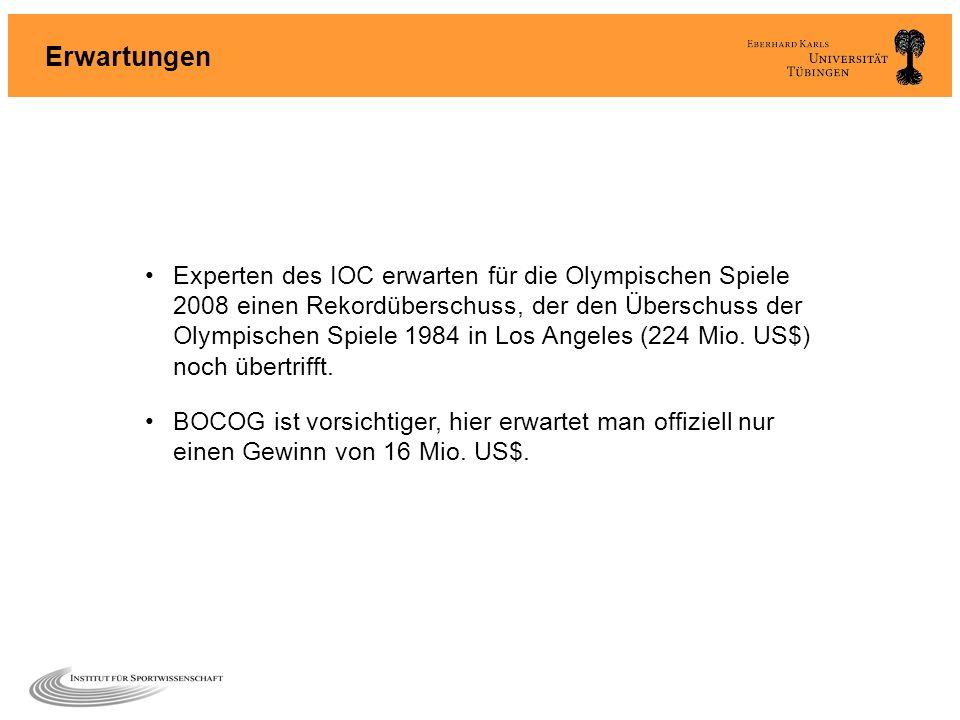Erwartungen Experten des IOC erwarten für die Olympischen Spiele 2008 einen Rekordüberschuss, der den Überschuss der Olympischen Spiele 1984 in Los An