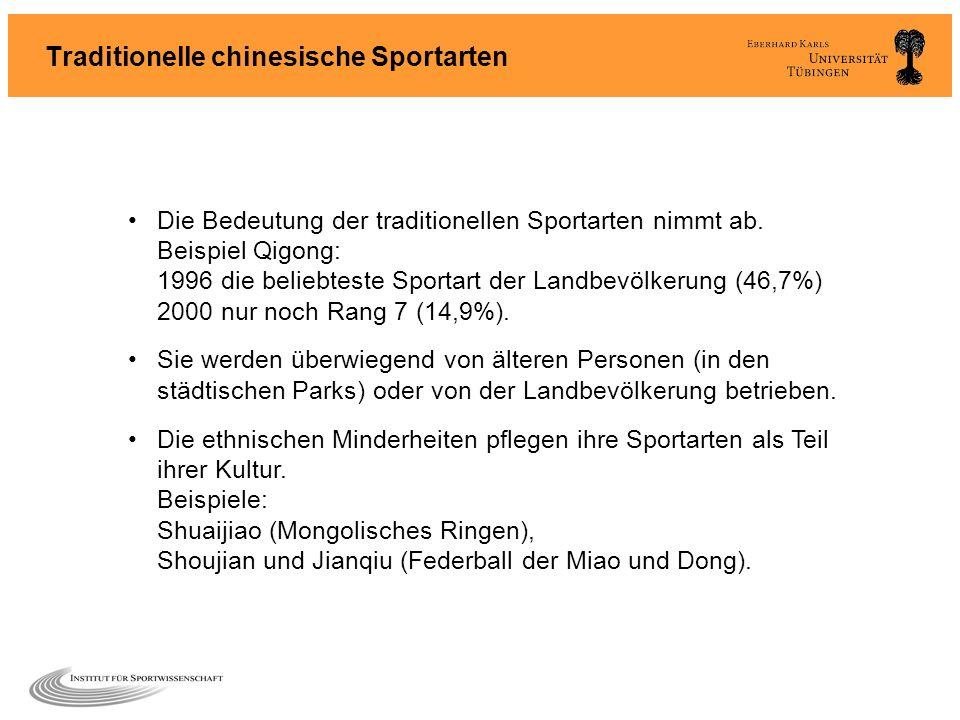 Traditionelle chinesische Sportarten Die Bedeutung der traditionellen Sportarten nimmt ab. Beispiel Qigong: 1996 die beliebteste Sportart der Landbevö