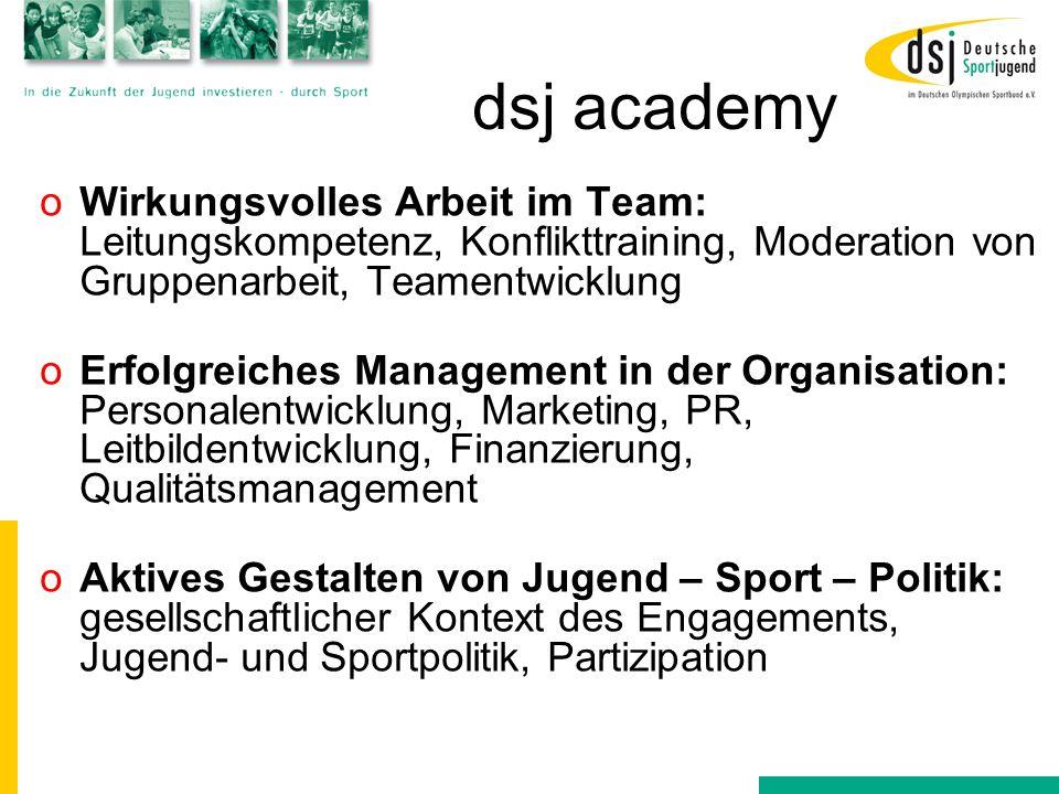 dsj academy oWirkungsvolles Arbeit im Team: Leitungskompetenz, Konflikttraining, Moderation von Gruppenarbeit, Teamentwicklung oErfolgreiches Manageme
