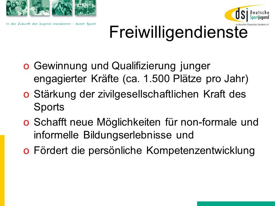 Freiwilligendienste oGewinnung und Qualifizierung junger engagierter Kräfte (ca. 1.500 Plätze pro Jahr) oStärkung der zivilgesellschaftlichen Kraft de