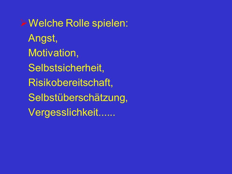Welche Rolle spielen: Angst, Motivation, Selbstsicherheit, Risikobereitschaft, Selbstüberschätzung, Vergesslichkeit......