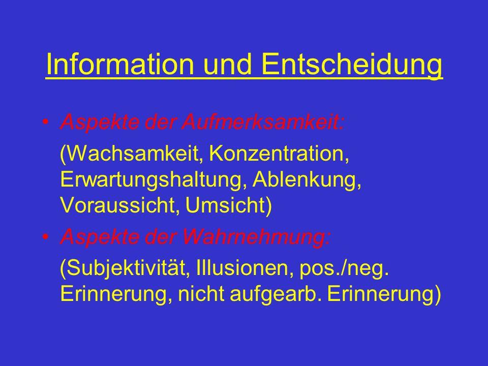 Information und Entscheidung Aspekte der Aufmerksamkeit: (Wachsamkeit, Konzentration, Erwartungshaltung, Ablenkung, Voraussicht, Umsicht) Aspekte der Wahrnehmung: (Subjektivität, Illusionen, pos./neg.