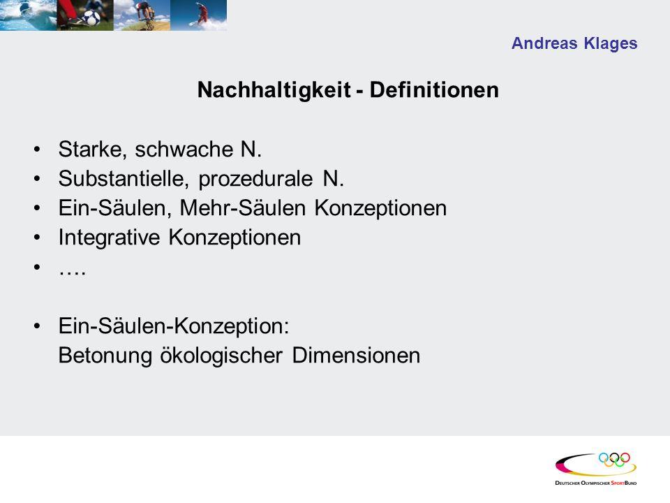 Andreas Klages Nachhaltigkeit - Definitionen Starke, schwache N. Substantielle, prozedurale N. Ein-Säulen, Mehr-Säulen Konzeptionen Integrative Konzep