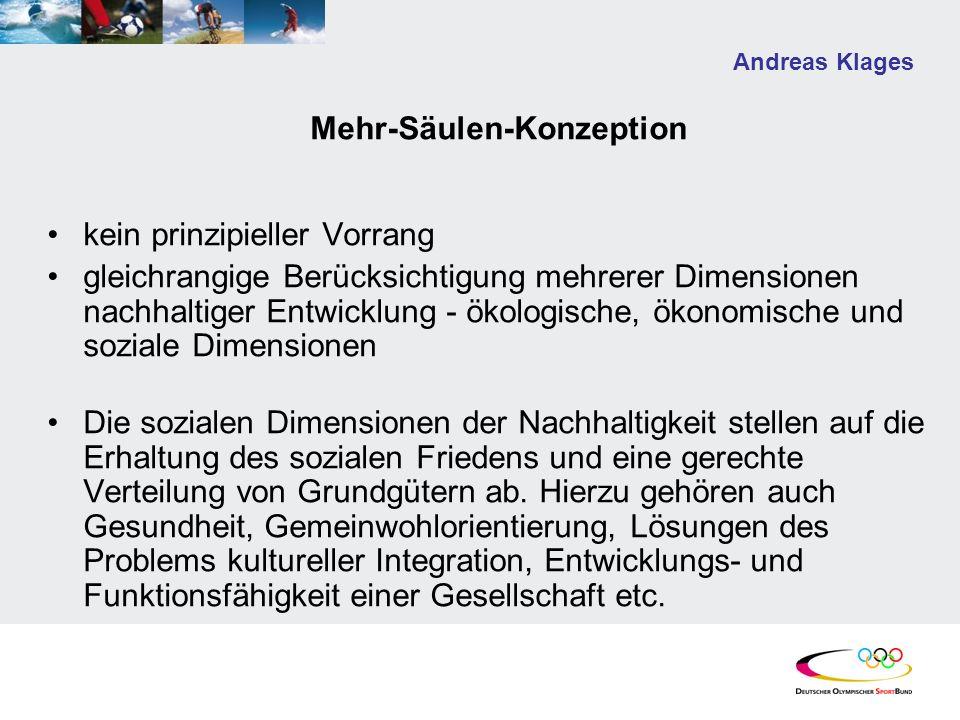 Andreas Klages Mehr-Säulen-Konzeption kein prinzipieller Vorrang gleichrangige Berücksichtigung mehrerer Dimensionen nachhaltiger Entwicklung - ökolog