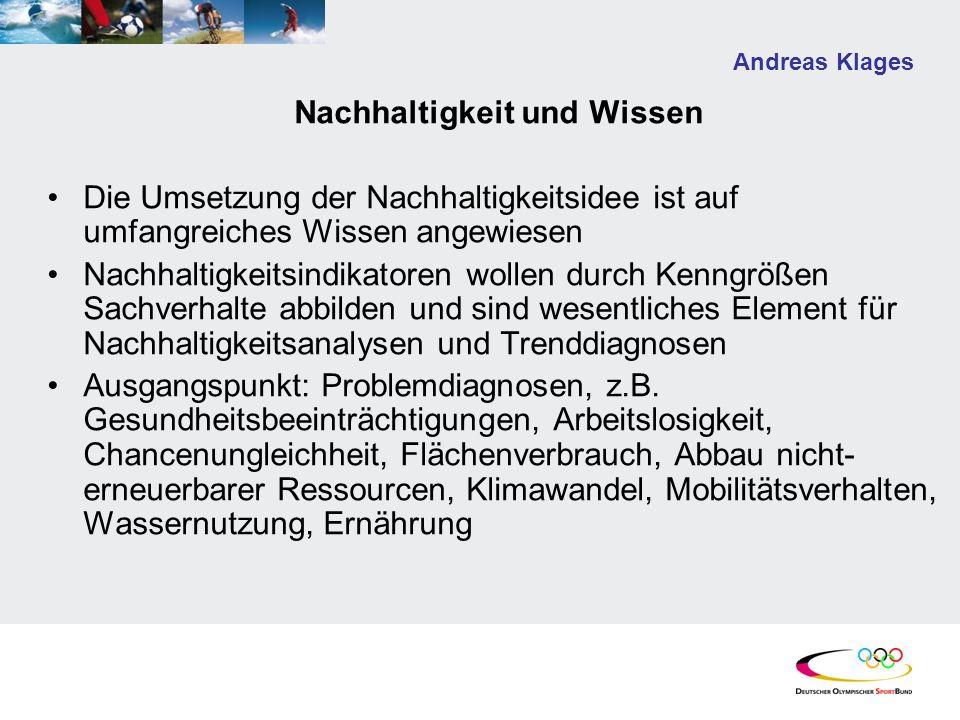 Andreas Klages Nachhaltigkeit und Wissen Die Umsetzung der Nachhaltigkeitsidee ist auf umfangreiches Wissen angewiesen Nachhaltigkeitsindikatoren woll