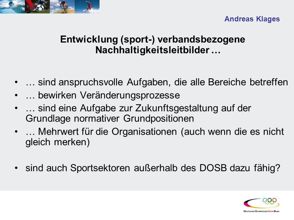 Andreas Klages Entwicklung (sport-) verbandsbezogene Nachhaltigkeitsleitbilder … … sind anspruchsvolle Aufgaben, die alle Bereiche betreffen … bewirke
