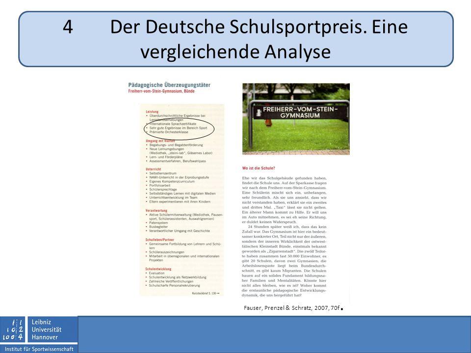 4Der Deutsche Schulsportpreis. Eine vergleichende Analyse Fauser, Prenzel & Schratz, 2007, 70f.