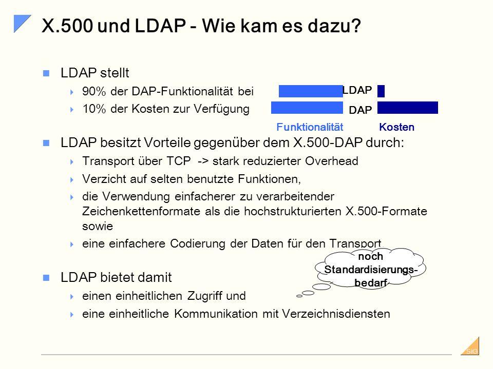 SiG X.500 vs. LDAP X.500... Der erste Standard – wurde 1993 veröffentlicht. ist ein ISO- (International Standards Organisation) und ITU- (Internationa