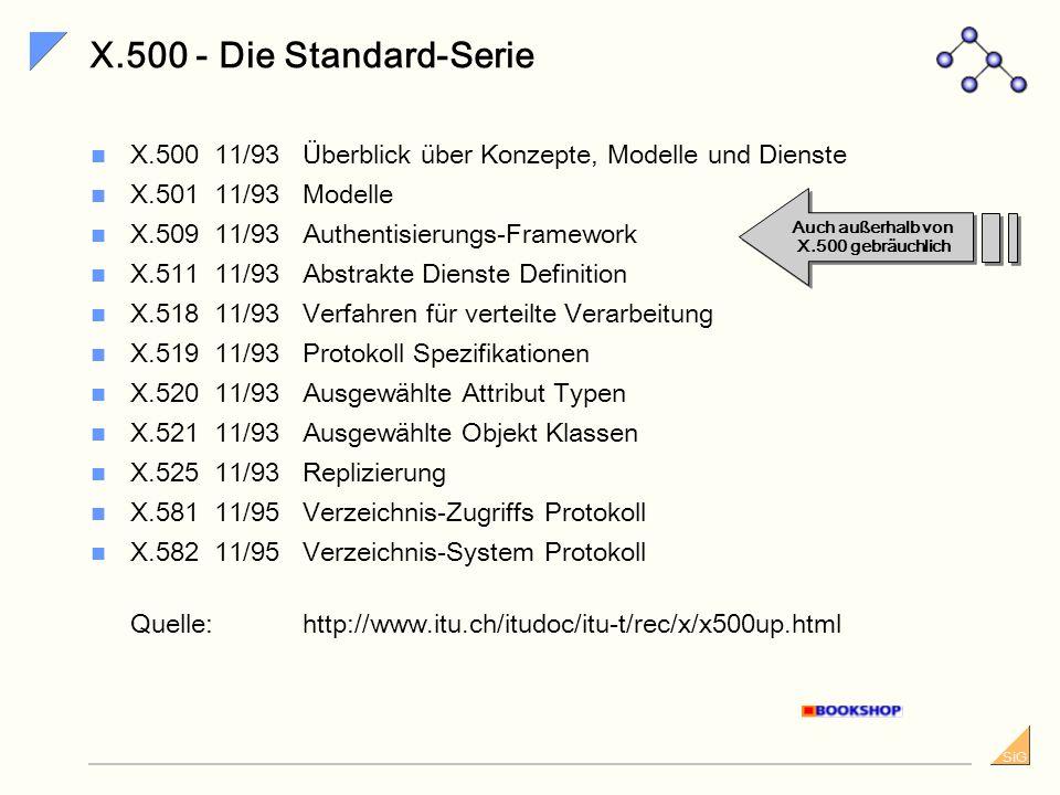 SiG X.500 und LDAP - Wie kam es dazu? LDAP stellt 90% der DAP-Funktionalität bei 10% der Kosten zur Verfügung LDAP besitzt Vorteile gegenüber dem X.50