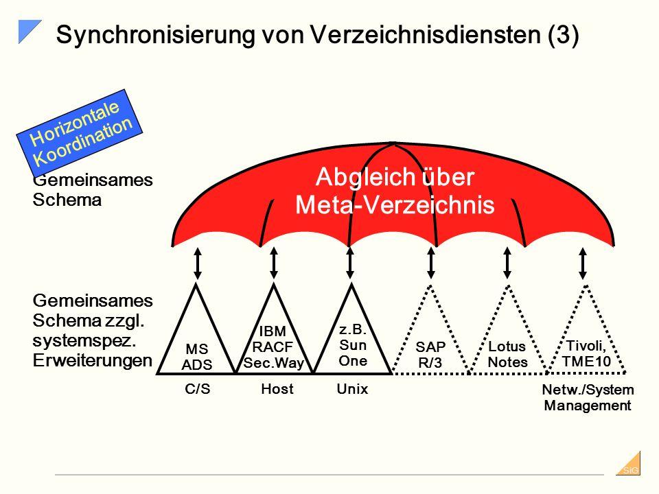 SiG Synchronisierung von Verzeichnisdiensten (2) IBM RACF Sec.Way SAP R/3 Lotus Notes MS ADS z.B. Sun One C/SUnixHost Gemeinsames Schema Gemeinsames S