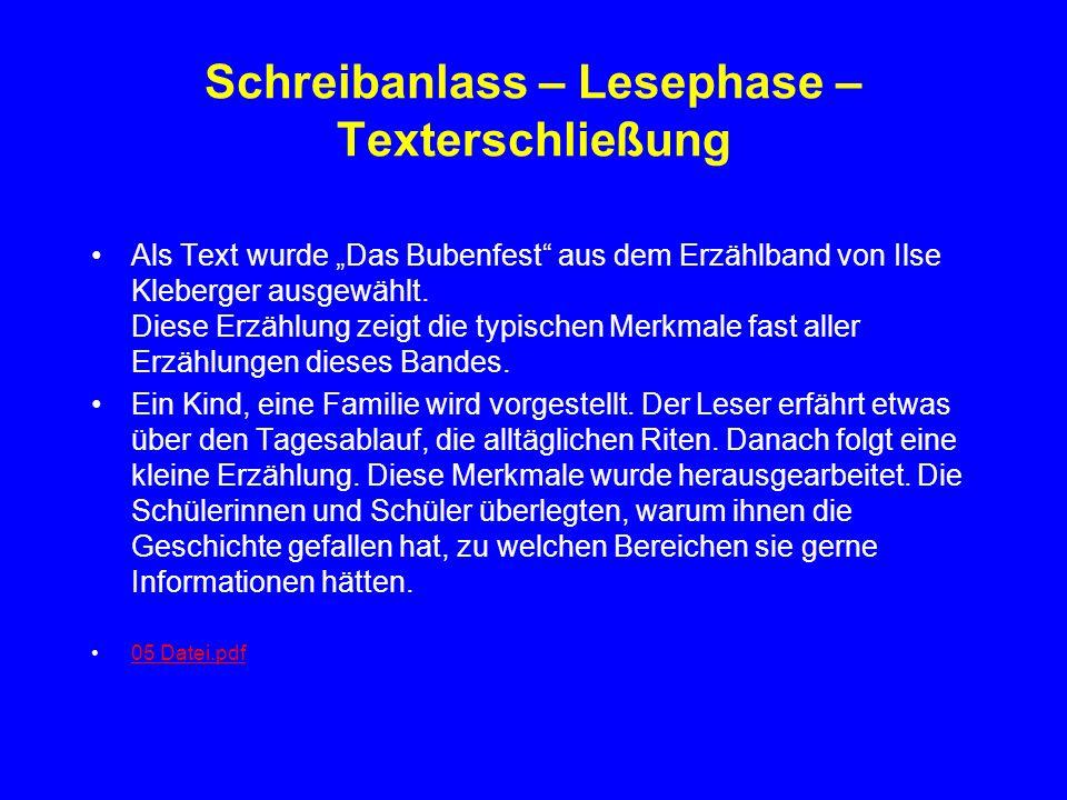 Schreibanlass – Lesephase – Texterschließung Als Text wurde Das Bubenfest aus dem Erzählband von Ilse Kleberger ausgewählt. Diese Erzählung zeigt die